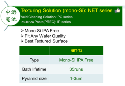 Texturing Solution(Mono-Si):NET series